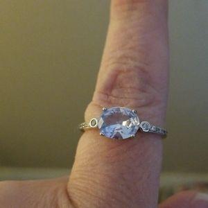 Real silver and aquamarine ring